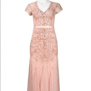 Adrianna Papell Pink Maxi Beaded Sequin Gown